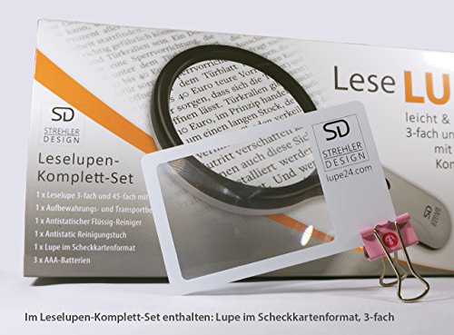 Profi Leselupe 6x Komplett-Set - Hochwertige LED Lupe mit Lese-Licht - 3x und 45x Vergrößerungsglas + Tasche inkl. Zubehör - für Senioren & zum Verschenken - 6
