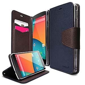 Ringke Delight für Nexus 5 Hülle Tasche (Leder Brieftasche Machart & Stehen Ansicht Funktion), Navy-dunkelblau