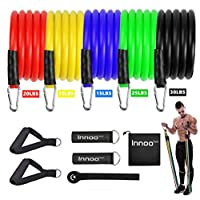 Innoo Tech Resistance Band, Exercise Resistance Bands Set Up to 100 lbs, Fitness Band Kit with 5 Fitness Tubes, Foam Handles, Ankle Straps, Door Anchor, Carry Bag and Workout Guide for Men Women