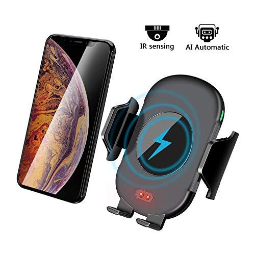 Yarrashop Wireless Charger Auto Qi KFZ Ladegerät car Induktions ladegerät Halterung Vent Phone Holder für iPhone XS/XR/X Samsung und Qi Fähige Geräte