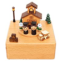 HGWDE Wooden Music Box Crafts Ornaments Birthday Gift Christmas Children Gifts Toy Musical Box (Color : Picture Color, Size : 11X11X15CM)