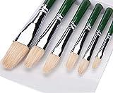 Fuumuui Künstler Pinsel Satz-Filbert Pinsel Set für Aquarell Öl Acryl Malerei Traditionelles Handwerk 6pcs (grün)