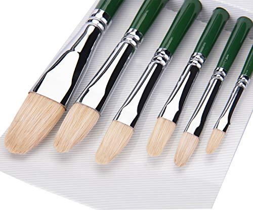 Fuumuui Künstler Pinsel Satz-Filbert Pinsel Set für Aquarell Öl Acryl Malerei Traditionelles Handwerk 6pcs (grün) -