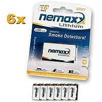 Nemaxx ER9V - Pila de 9 V (1200 mAh, litio), color blanco - Pack de 6 unidades