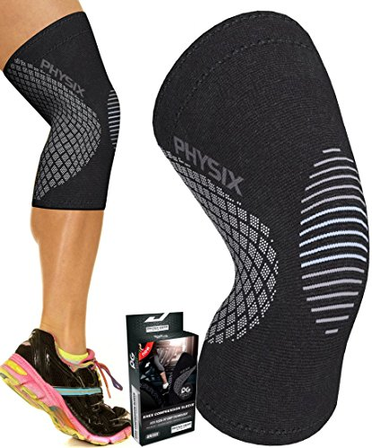 Knee Support Compression Sleeve for Men & Women, Best Support Brace for Sports, Squats, Crossfit, Jogging, Joint Pain Relief, Walking, Hiking, Circulation, Arthritis & Injury Recovery - SINGLE GREY M (Silver Womens-volleyball)