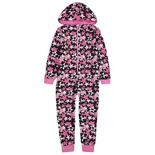 ONEZEE Girls Star Print Novelty Microfleece Polyester Hooded Jumpsuit