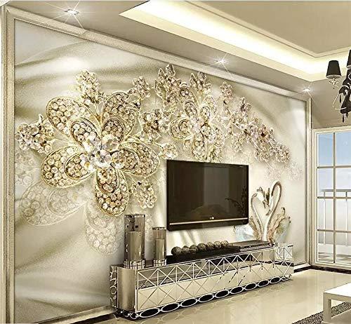 Wiwhy Benutzerdefinierte Tapete 3D Wandbilder Goldschmuck Blumen Schwan Seide Europäischen Tv Hintergrund Wand Wohnzimmer Tapete 3D Wandbild-200X140Cm
