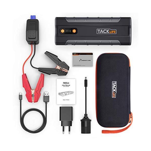 TACKLIFE T8 MAX Arrancador de Coche – 1000A 20000mAh Arrancador de batería (Para todo Motor de Gasolina o de Diesel Hasta 6.500cc), Bateria Externa con Luz LED, Puertos de Carga Dual