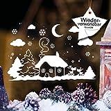 Wandtattoo-Loft Fensteraufkleber Winter Häuschen mit Elchen WIEDERVERWENDBAR