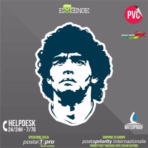 [ERREINGE] STICKER SAGOMATO 10cm - Maradona D10S Napoli Calcio Diego Armando - Adesivo Decal Decalcolmania Vinile Murale Laptop Auto Moto Casco Cam