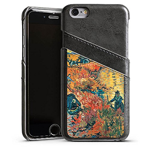 Apple iPhone 5 Housse Étui Silicone Coque Protection Vincent van Gogh La Vigne rouge Art Étui en cuir gris