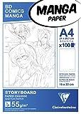 Clairefontaine REF 94037C Papier Manga Bloc Storyboard A4 100 Feuilles Grille Simple 55 g par 1, Blanc, 210 x 297 mm