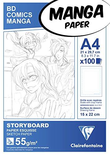 Clairefontaine 94037C Manga Storyboard Bloc collé 100F 21x29,7cm 55g Papier Lisse Blanc - Grille Simple