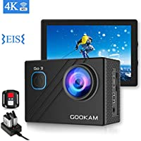 GOOKAM Action Camera 4K Wifi 170 Wide View Angle Waterproof Camera with Remote Control 2 Rechargeable Batteries and External Microphone EIS Digital Waterproof Sport Camera Accessories Kit-GO 3