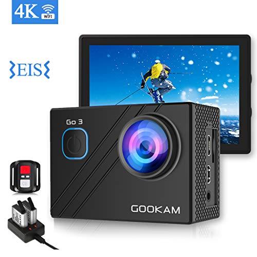 GOOKAM Caméra Sport 4K Ultra HD 170°Grand-Angle 20 MP WiFi 2.4G Télécommande LCD 2.0 Pouces Caméra d'Action Étanche 40M avec 2 Batteries et Un Kit d'Accessories