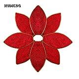 MUMENG® Weihnachtsbaum Skirt Decor Mat, 140 cm/55 Zoll Non-Woven Flower Shape Matte mit glänzenden Pulver, perfekt für Weihnachten Tree Party Dekoration (rot)