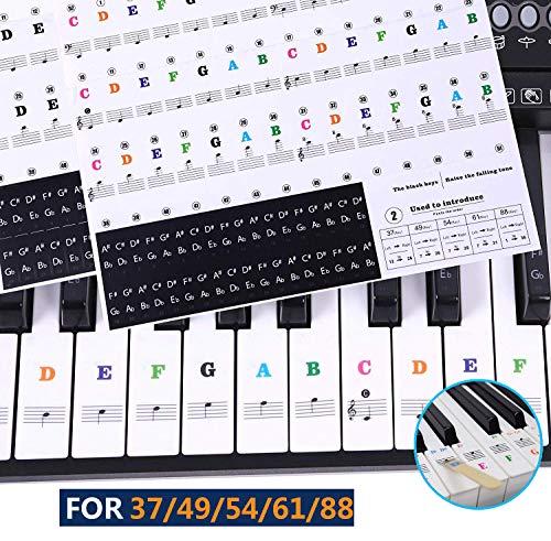 keyboard aufkleber,klavier aufkleber kinder,piano stickers for keys,Keyboard Noten Aufkleber für 37/49/54/61/88 Tasten-Transparent und Entfernbar inkl