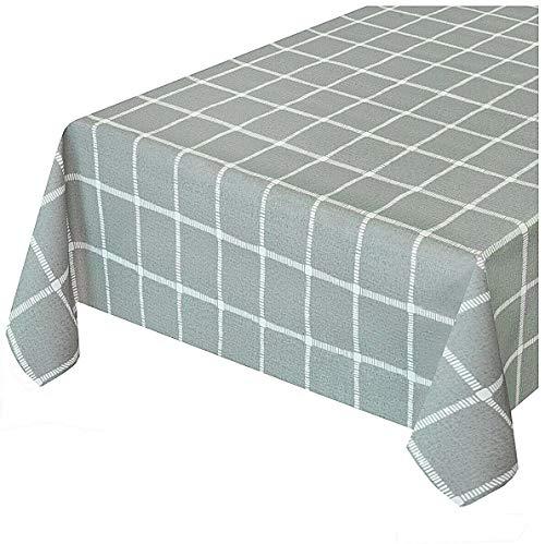 Emmevi tovaglia cucina antimacchia effetto tessuto cotone morbido plastificata ultra resistente su misura quadri grigia mod.touch 6 140x200