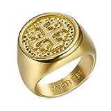 BOBIJOO Jewelry - El Anillo de sellar el Hombre Cruz Templaria Potancée el Fin de Jerusalén de Oro Chapado en Acero 316L PVD Oro - 27 (12 US), Dorado - Acero Inoxidable 316