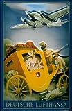 Blechschild Lufthansa Flugzeug Postkutsche Nostalgie Schild Dekoration