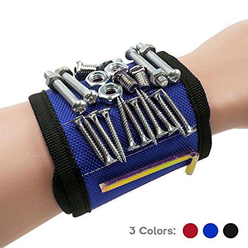 bolokin Magnet-Armband mit starken Magneten für Schrauben Nägel Bohrer Best Werkzeug für Heimwerker Herren Frauen BTD120, blau