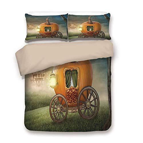 Ella 3-licht (Soefipok Bettbezug-Set, Kinder Dekor, abstrakte Märchenbild mit orange Kürbis Licht Landschaft Prinzessin Ella Bild, Multicolor, dekorative 3 Stück Bettwäsche Set von 2 Pillow Shams Full/Queen Size)