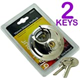 70MM DISCUS ROUND DISC PADLOCK WITH 2 KEYS - HARDENED HEAVY DUTY CLOSED STEEL SHACKLE - STAINLESS STEEL - IDEAL FOR GARAGES, OUTHOUSES, GARDEN SHEDS, OUTDOOR UNITS AND MANY MORE (PACK 1)