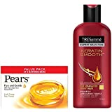 Tresemme Keratin Smooth With Argan Oil Shampoo, 190ml With Pears Pure And Gentle Soap Bar, 125g (Pack Of 3)