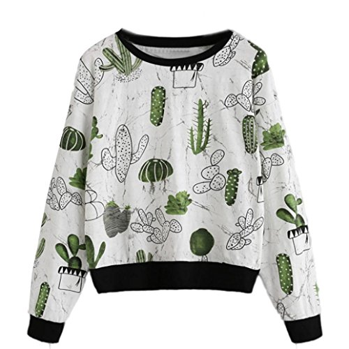 DRESS_start Damen Winter Warm über Kaktus Print Ringer Sweatshirt gedruckt T-Shirt Damen Bluse weiß Tops (L) (Gedruckt T-shirt-taschen)