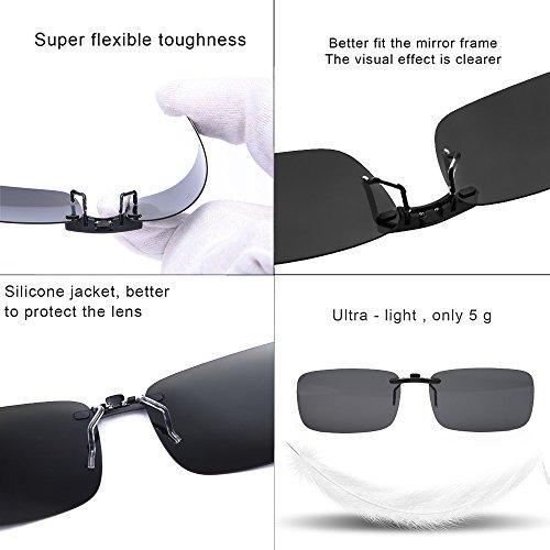 Clip polarisé unisexe sur des lunettes de soleil pour lunettes de prescription-Good Lunettes de soleil clip pour lunettes de myopie extérieure / conduite / pêche (Black) jE0BI7H1