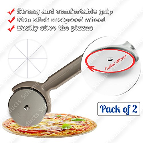 Rustproof Wheel Pizza Cutter - Strong and Comfortable Grip, Resistant to High Temperatures (Brown - Pack of 2)