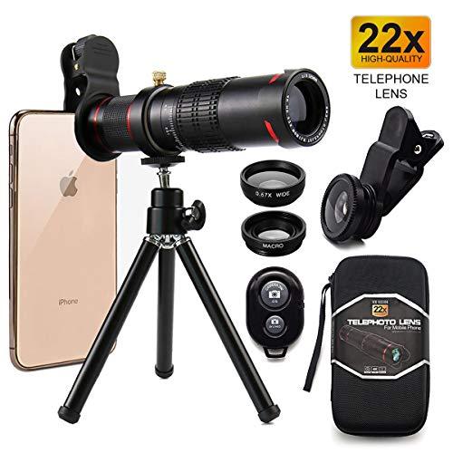 Handy-Kamera-Objektiv,Telefon-Fotografie-Kit,High Power 22x Monokulare Teleobjektiv,Makro-Objektiv, Tele-Zoom-Objektiv+Zoom Tele-Universal-Clip,Flexible Phone Stativ (WYJ Black)