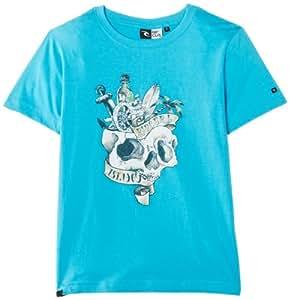 Rip Curl Boy's Kk Skull Short Sleeve Animal Print T-Shirt, Blue (Blue Atoll), 8 Years