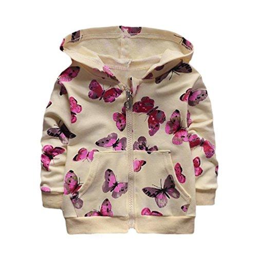 long® 1 PC (0-24 Monate) Baby Mädchen Schmetterling Drucken Hoodies Mantel Herbst Jacke Mädchen Tops Outwear Sweatshirt Pullover Oberbekleidung (90CM (12-18 Monate), Beige) (Jungen Dunkel-lila Kleid Shirt)