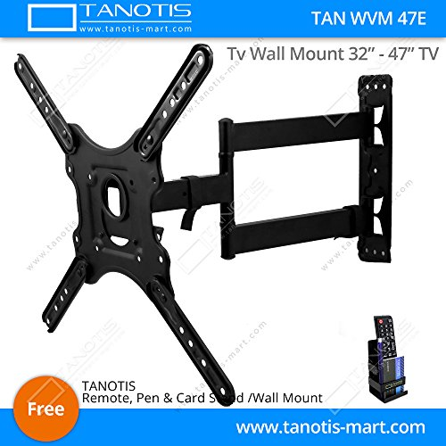 """Tanotis Imported 6 Way Swivel Tilt TV Wall mount for LCD/LED TV's upto 32"""" to 47"""" inch for flat wall or Corner Mounting with VESA upto 400 MM TAN WVM 47E + Free TANOTIS Remote Stand TAN ACC RMS"""