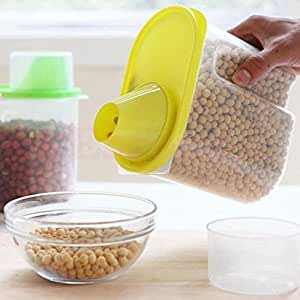 Okayji Cereal Dispenser Jar 1900ml Set of 3 Idle for Kitchen- Storage Box Lid Food Rice Pasta Grains Container, Set of 3, Multicolor