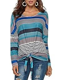 Lover-Beauty Camisa Mujer Raya Cuello Redondo Manga Larga Casual Suelto Blusa Rojo y Top Azul Jersey Stripe Shirt Otoño Verano Navidad y Halloween