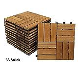 SAM® Terrassenfliese 02 aus Akazien-Holz, FSC® 100% Zertifiziert, 33er Spar-Set für 3 m², Garten-Fliese in 30 x 30 cm, Bodenbelag mit Drainage, klick-Fliesen für Garten Terrasse Balkon