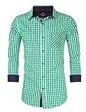 KoJooin Trachten Herren Hemd Trachtenhemd Langarmhemd Freizeithemd Baumwolle - Für Oktoberfest, Business, Freizeit Grüne Nähte L-38