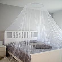 AMANKA Moskitonetz XXL Mückennetz 12m Umfang Insektenschutz Weiß Fliegenzelt f. Doppelbett WHO Standard 180 Mesh/6,45cm² inkl. Tragebeutel