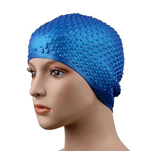 Eizur Unisex Cuffia da Nuoto Silicone Cappello Tappi Puntini Estensibile Resistente Anti-Strappo Swimming Cap Orecchio Proteggere Taglia unica ( Blu )