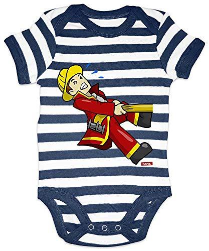 HARIZ Baby Body Streifen Feuerwehrmann Schlauch Ziehen Beruf Feuerwehr Inkl. Geschenk Karte Weiß/Navy Blau 6-12 Monate - Spa Top Sheet
