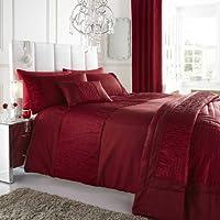 Rosso Set Copripiumino Matrimoniale e federe Set–Taffetà di seta con fascia