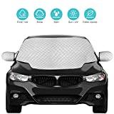 Picture Of QcoQce Car Windscreen, Magnetic Snow Cover with Two Mirror Covers, Windshield Ice Cover Dust Sun Shade Protector in All Weather (147×120cm)