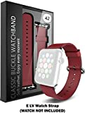 #6: (WATCH IS NOT INCLUDED) Apple Watch Strap Band - E LV Apple Watch 42MM - Strap Band High Quality Premium Strap Band Accessories for Apple Watch 42MM with [ADAPTER] to install - (RED)