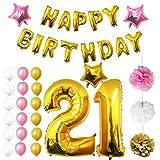 21. Geburtstag Party Dekoration Luftballons von Belle Vous - Rosa, Weiße und Gold Ballons, Luftballon, Seidenpapier Pom-Pom Blumen, Latexballons u. Zahlen Folienballons, Sterne Ballons, Stilvolles Party Zubehör - Hochzeit Abschluss Dekorationen