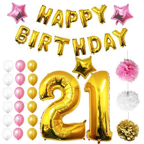 Ballons Happy Birthday 21ème Anniversaire, Fournitures & Décorations par Belle Vous - Set tout-en-un - Gros Ballon Aluminium 21 Ans - Ballon de Décoration en Latex Or, Blanc & Rose - Décor Adapté pour les jeunes adultes