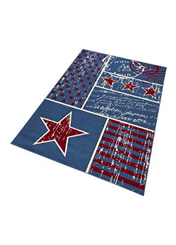 HANSE Home Design Velours Patchwork Stars Blau Rot 140x200 cm Teppich, Polypropylen, 140 x 200 x 0.9 cm (Teppich Rot Blau)