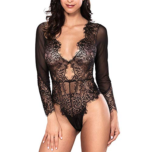 EVBEA Lencería Mujer Erótica Sexy Transparente Pestañas Bodydoll Romance Pijamas de Encaje Ropa...