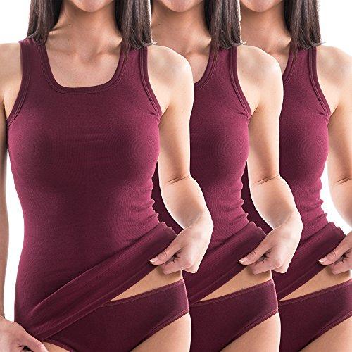 Cotton Muskel-shirt (HERMKO 1325 3er Pack Damen Longshirt ideal für drüber und drunter (Weitere Farben), Farbe:Bordeaux, Größe:44/46 (L))